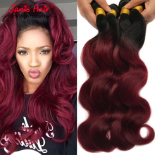 Dark Root Ombre Hair Extensions 1b/99j Peruvian Virgin Hair Body Wave Wavy Red Wine Two Tone ombre Human Hair Weave(China (Mainland))