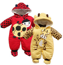 2015 new jumpsuit + hat + shoes animal style cartoon warm hooded baby rompers winter boys girls clothes outfits newborn clothing(China (Mainland))