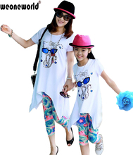 WEONEWORLD 2016 Family Summer Short-sleeve T-shirt Baby Girls Set Sports Skirt Set Clothes Mom And Daughter Suits Family Clothes(China (Mainland))