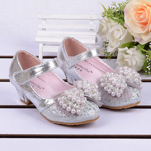2016 spring Kids Girls High Heels For Party Sequined Cloth Blue pink Shoes Ankle Strap Snow Queen Children Girls Pumps Shoes(China (Mainland))