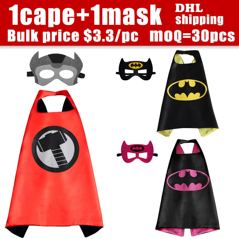 70*70 Sided Satin fabric Superhero cape Cape + Mask superman batman spiderman super hero capes for kids Birthday Party Cosplay(China (Mainland))