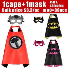 70 * 70 face Satin tissu Superhero Cape Cape + masque superman batman spiderman super hero capes pour enfants Birthday Party Cosplay(China (Mainland))