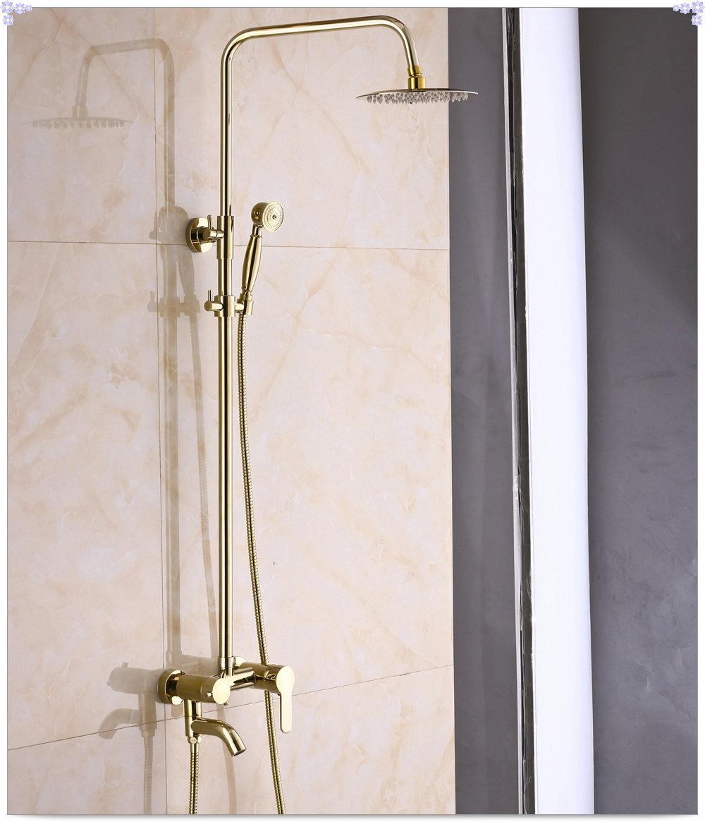 Bathroom 8-inch Rain Shower Faucet Unit Gold Finish Mixer Tap with Hand Spray papel de parede listrado(China (Mainland))