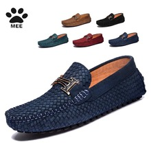 MEE Men's 100% Genuine Leather Driving Shoes,2015 New Moccasins Handmade Shoes,Brand Design Flats Sneakers For Men H K073(China (Mainland))