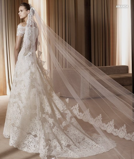 Lace Wedding Dress And Veil : Hot sale in stock white ivory meters bride veil lace