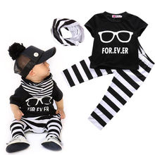 Fashion Baby Boy 3-piece Outfit T-shirt +Pants Leggings +Scarf Clothes Set 0-24M