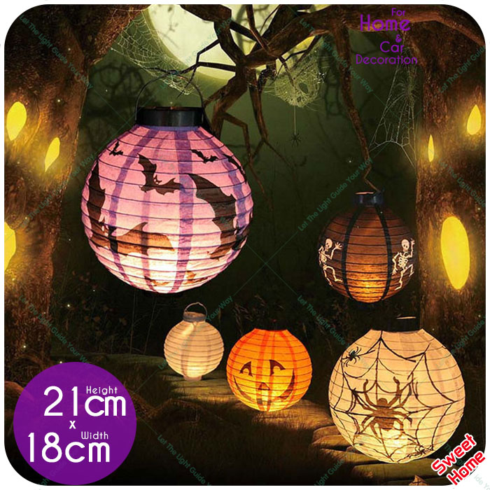 1 Pc Halloween Decoration LED Paper Lantern Pumpkin Spider Bat Light 7 Pictures Hanging Lamp Props Home Bar Outdoor Party Supply(China (Mainland))
