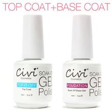 2Pcs/Lot Civi 15ml UV Gel Nail Gel Polish UV Lamp Base Foundation Soak Off Base Coat + Top Coat Nail Art Nails Gel Professional(China (Mainland))