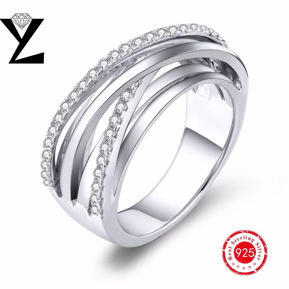 Real 925 Sterling Silver Halo Rings For Women Wedding Engagement Fashion Finger Rings chain Wholesale(China (Mainland))