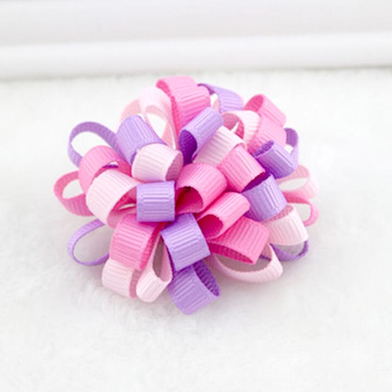 1Pcs baby head accessories Kids Loopy Puffs Hairclip Ribbon Hair Bow Alligator Clip Girl Headwear Random Color(China (Mainland))
