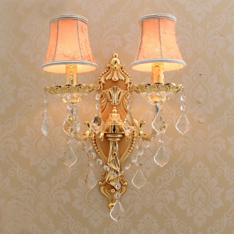 Aliexpress.com : Buy satin gold wall sconce with fabric shade modern led crystal wall lighting ...