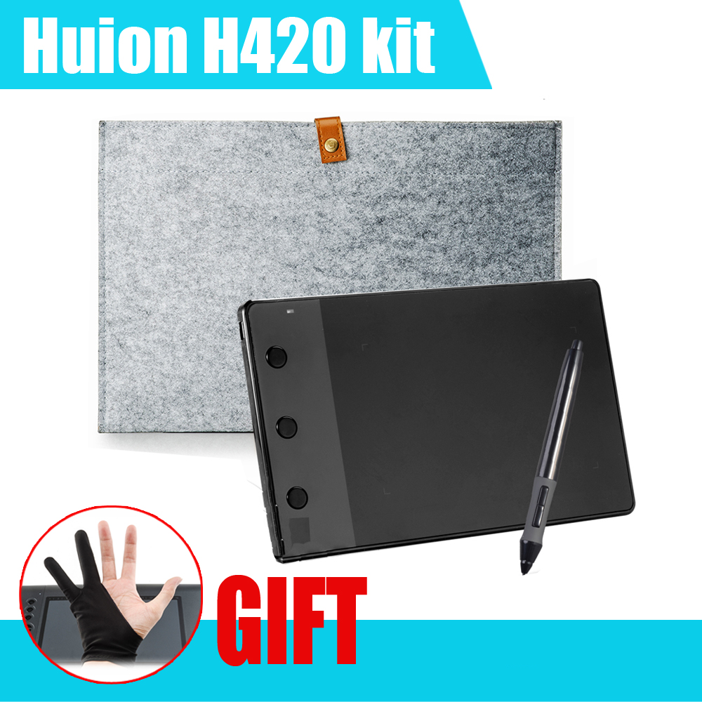 Huion H420 Graphic Drawing Tablet w/ Digital Pen + 10 Inches Wool Liner Bag + Two Fingers Anti-fouling Glove as Gift P0019297<br><br>Aliexpress