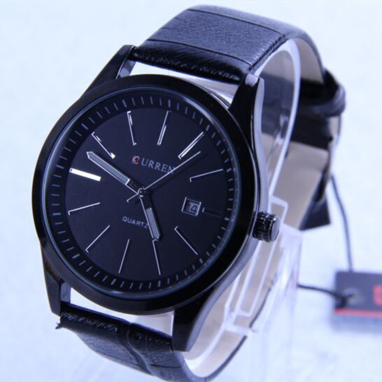The new 2015 men watches, CURREN wrist, outdoor table,calendar high-end leisure fashion watches,rounded appearance leather strap(China (Mainland))