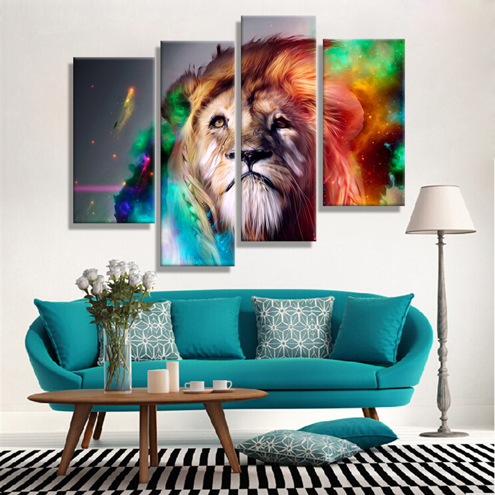 Oil Paintings Canvas Cheap Abstract Lion Colorful Animals Wall Art Home Decor Pictures Wall Pictures For Living Room (4PCS)(China (Mainland))