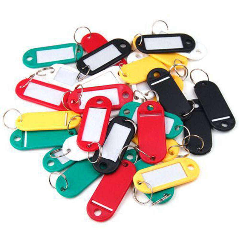 KHN034 50Pcs Plastic Keychain Blanks Key Ring Diy Tags For Baggage Paper Insert Luggage Tags Mix Color Key Chain Accessories(China (Mainland))