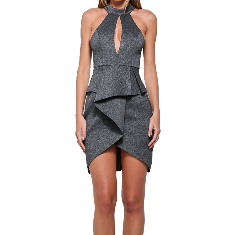 Women Dress 2015 New Fashion Unique Design Grey Sleeveless Open Bust Ruffle Slim Fit Sexy
