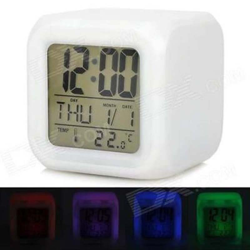 Brand New 2 8 Lcd 7 Led Auto Color Change Digital Alarm