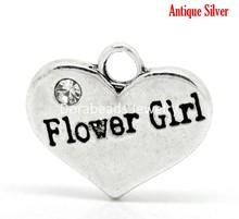 "Free Shipping! Antique Silver Rhinestone ""Flower Girl"" Heart Charms Pendants 16x14mm(5/8""x1/2""),20pcs (B17625)(China (Mainland))"