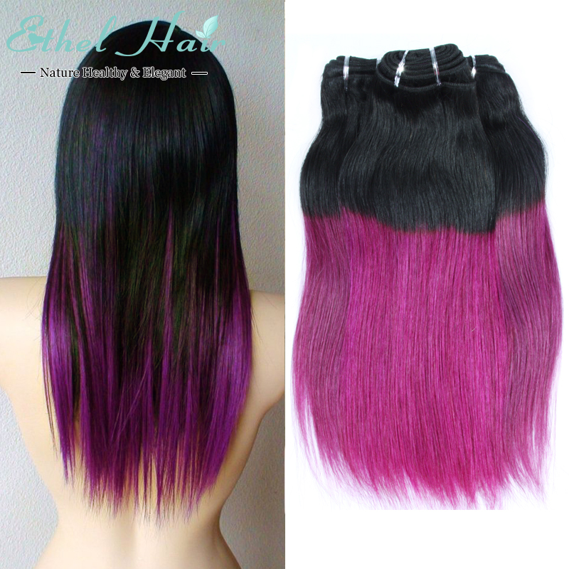 ombre brazilian hair Straight Ombre Hair Extensions 3 Pcs Two Tone IB/purple Ombre Brazilian Hair Straight Ombre Bundles