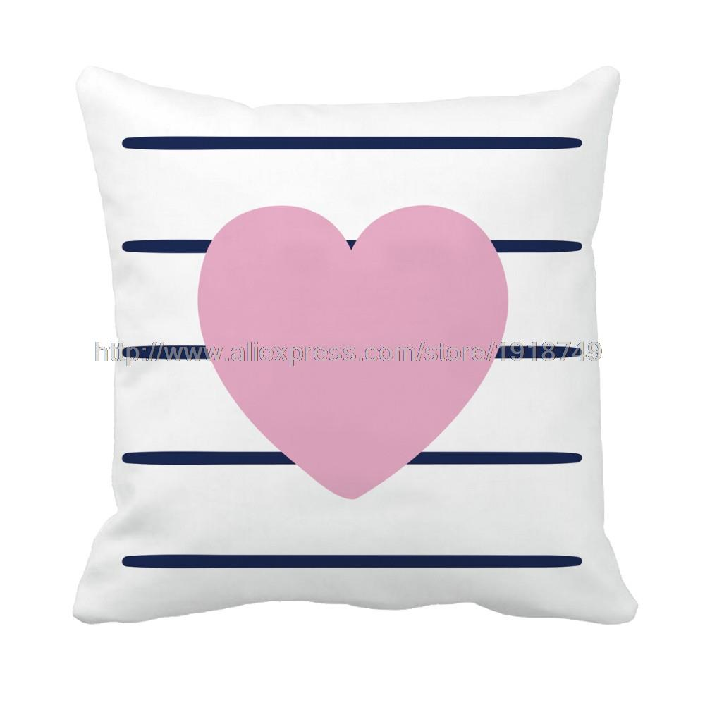 pink heart shape with dull blue stripe printed customized white throw pillow case home decorative plain