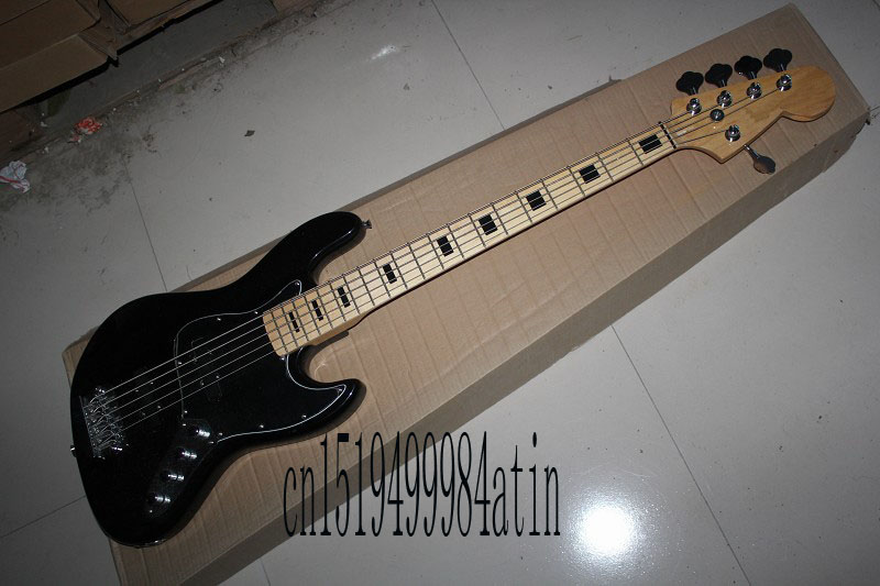 Free Shipping Factory Custom Shop Best Price jazz Black 5 String Bass Guitar with 9v Active pickups In Stock @32(China (Mainland))