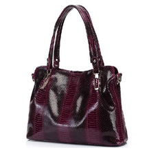 PROMOTION PRICE Graceful OL Style 100% Genuine Cowhide Leather Handbags Crocodile Grain Shoulder Bags Women*Free Shipping B0122(China (Mainland))
