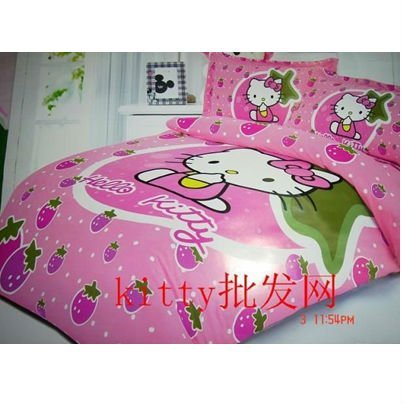 2012 Hello Kitty cartoon bedding sets quilt cover sheet pillows 4PC set single bed good quality