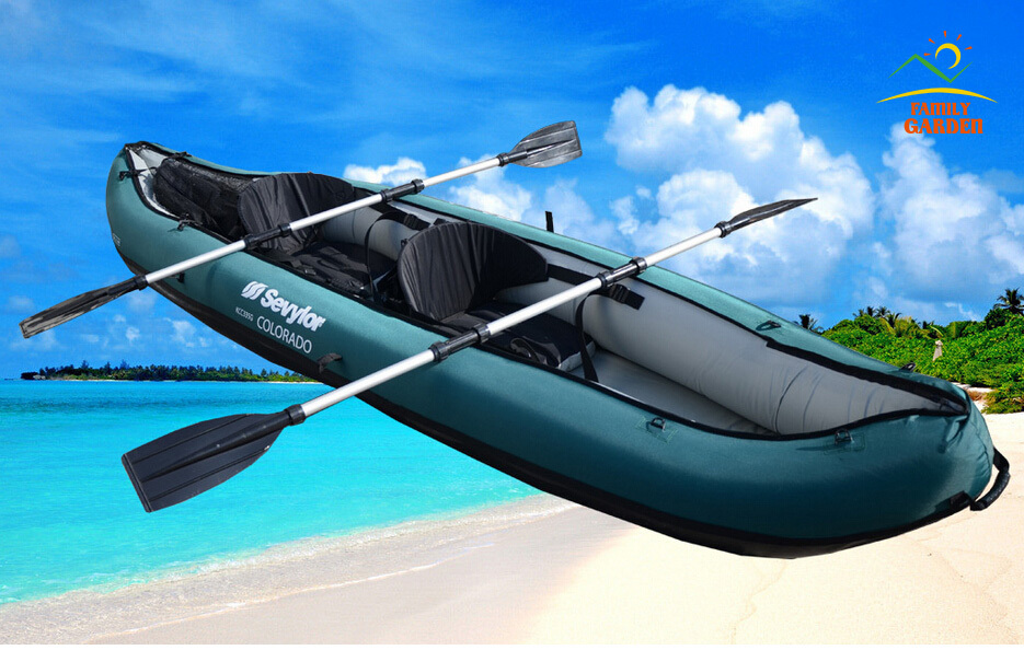 2016 New Design 2 Person Inflatable Fishing Boat Kayak Canoe With Nylon Coat Oars Pump For Drifting Surfing Sandbeach(China (Mainland))