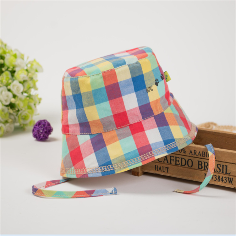 Baby girl hat bucket hats spring and summer cotton hats for kids children baby grils summer sun hat plaid style caps(China (Mainland))