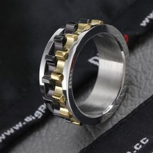 Unique Design Men Ring Moveable Gear 316L Stainless Steel Charming Ring for Men Wholesale OTR15(China (Mainland))