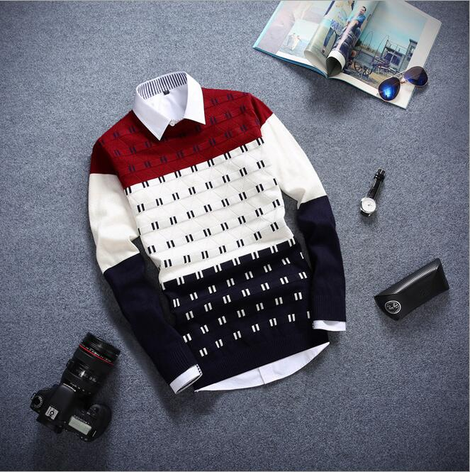 2016Sweater men pullover brand polo men sweater hombre clothing wool acrylic winter dress thick shirt O-neck striped full 50(China (Mainland))