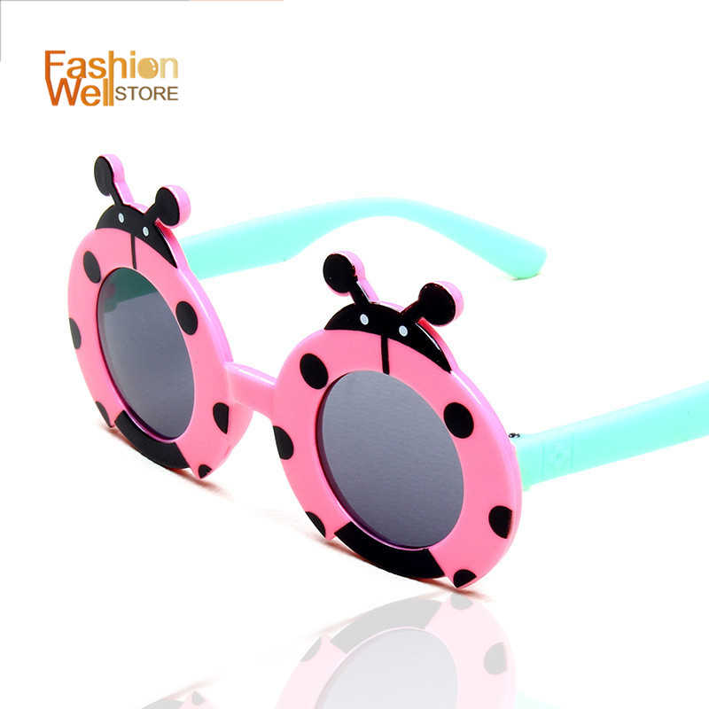 Children Sunglasses Fashion Ladybug Spots Baby UV Protective Goggles Lovely sonnenbrille Girl Boy Spring Sun Eyewear New Brand(China (Mainland))