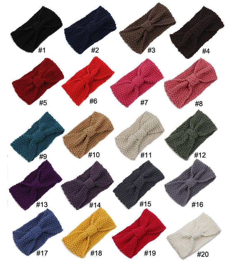 20 pcs/ lot , Women Crochet Bow Turban Knitted Headwrap Hair Band Winter Ear Warmer Headband(China (Mainland))