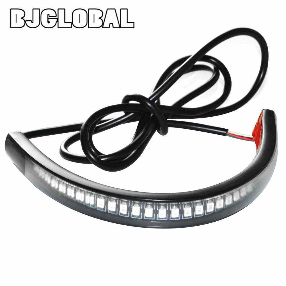 New Universal Flexible LED Motorcycle Brake Lights Turn Signal Light Strip 48 Leds License Plate Light Flashing Tail Stop Lights(China (Mainland))