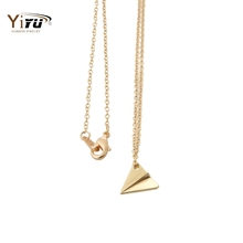 Min 1pc Gold and Silver Origami Plane Necklace, Pendant