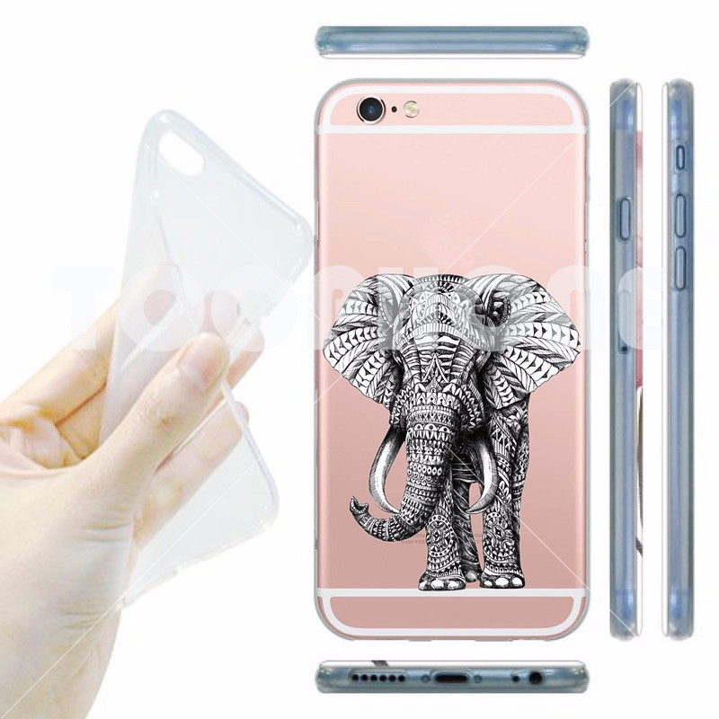 Super Nutella Elephant Tasty Cookies Printing Phone Case For Apple iphone 5 5s se 6 6s Plus Clear TPU Crystal Skin Covers Capa