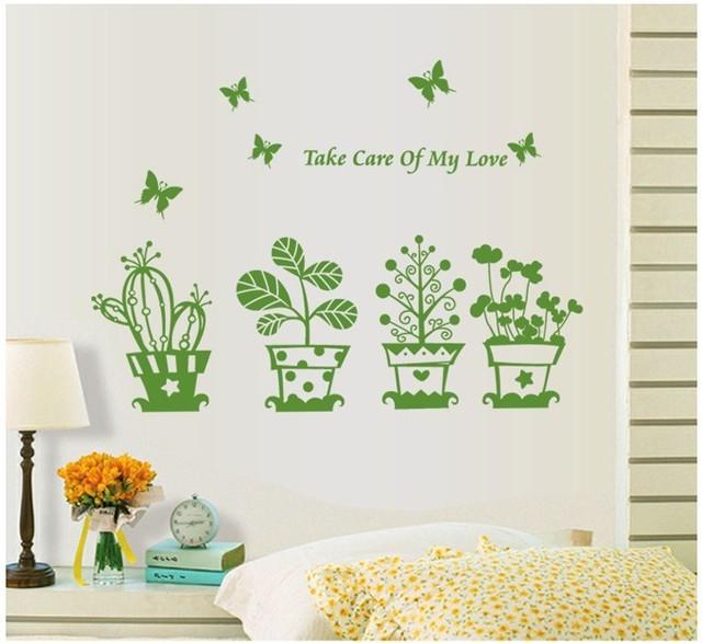 3d зеленый пот завод цветок бабочка прекрасный термоаппликации виниловые наклейки пвх декора украшений DIY гостиной дома 6040