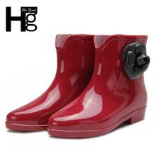 Camellia Flower Women Rain Boots Rubber Shoes Women Boot XWX1253
