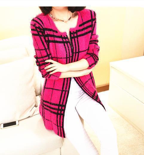 free shipping plus size 2015 Korean Spring Autumn women mohair sweater cardigan loose plaid long cardigan sweater coat female(China (Mainland))
