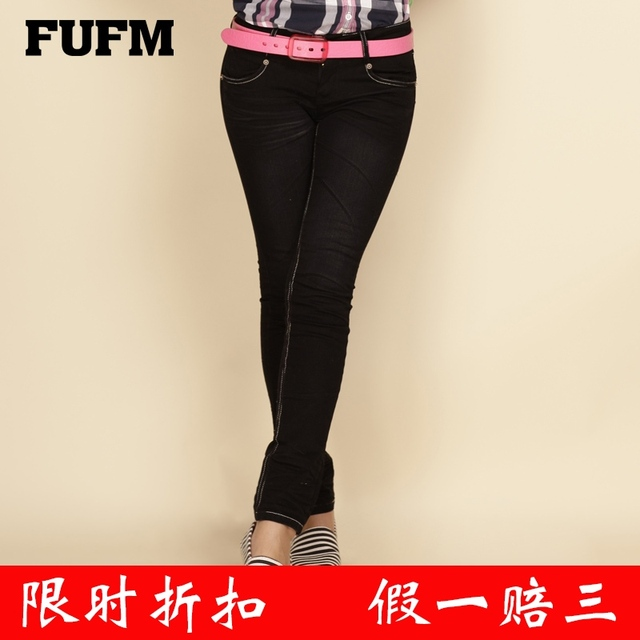 Fufm 2013 autumn jeans women's low-waist pants elastic straight casual skinny pants