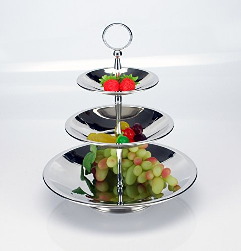 3-Tier Fruit Plate Stand Multifunctional Cupcake Dessert Tower Stainless Steel -- Round(China (Mainland))
