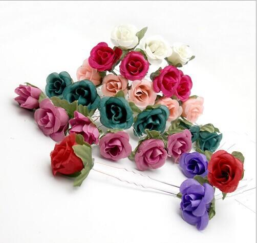 6PX handmade Small Foam Rose Flower Hair Pins Wedding Bridal Flowers Bridesmaids - ZAKI Company 01 store