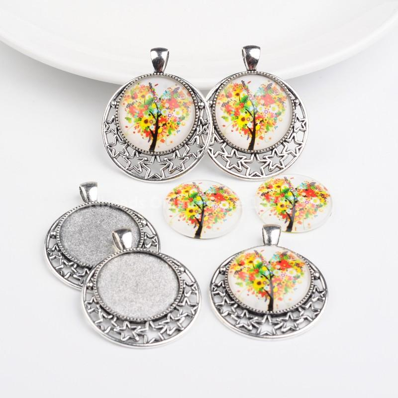 Antique Silver Alloy Pendant Cabochon Settings and Tree of Life Printed Half Round/Dome Glass Cabochons, Colorful, Settings:(China (Mainland))