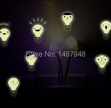 Hot sell Luminous wall stickers cute little bulbs smiling face stickers luminous living room bedroom wallpaper paste stickers(China (Mainland))