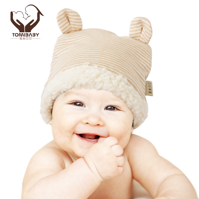 Organic cotton baby hat thickening baby lambs wool ears cap baby hat Qiu dong is 0 to 1 year old(China (Mainland))