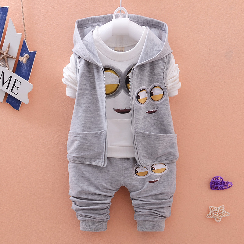 2016 New despicable me 2 Minion Clothes Sets Baby Girls Boys Kids Vest+T Shirt+Pants 3 Pcs Sets clothing set Kids Sets Children(China (Mainland))