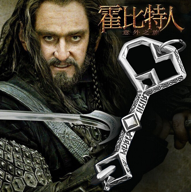 2015 New Hot Movie Film Jewelry The Hobbit Thorin Key Pendent Necklace Statement Chain Choker Necklace