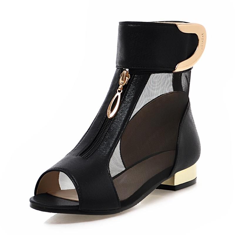 sandals gauze peep toe summer boots loop and metal