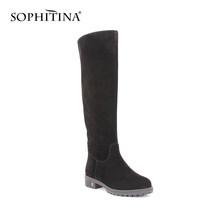 Sophitina Đen Kid Da Lộn Người Phụ Nữ Cao Đến Đầu Gối Giày Mũi Tròn Ấm Sang Trọng Len Lông Mùa Đông Giày Chắc Chắn Da Thủ Công giày B32(China)