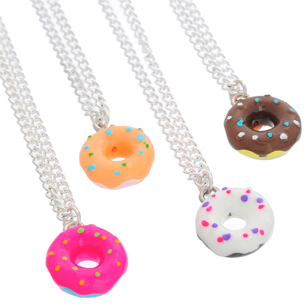 4PCs Adjustable Donuts Handmade Resin Charm Pendants Necklaces For Women Cute Paint Pink Donut Jewelry For Summer Holiday(China (Mainland))